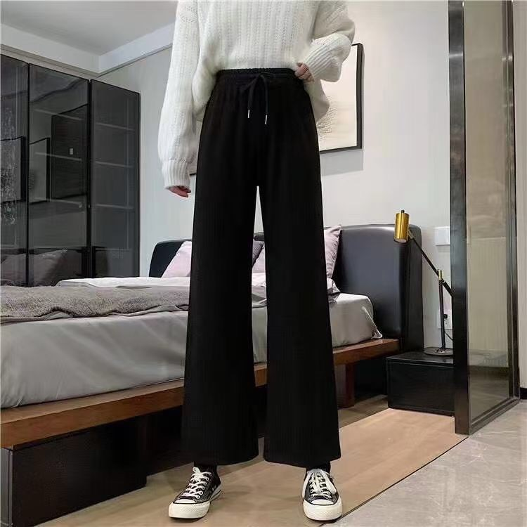 春秋新款高腰针织阔腿裤2000条,黑灰两色,独立包装